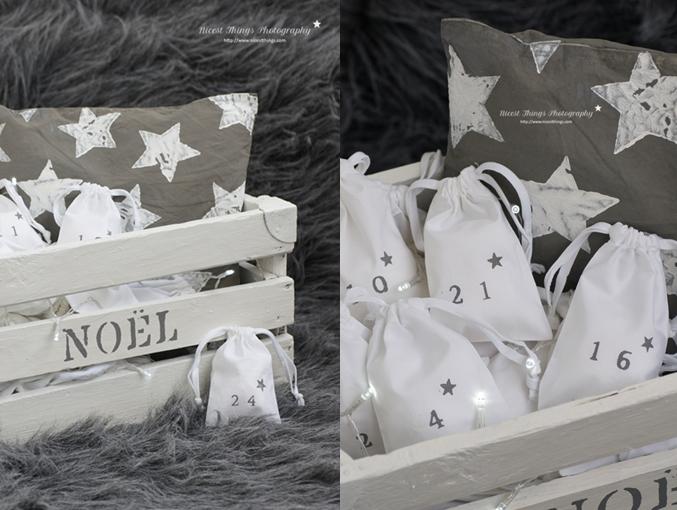 Adventskalender Kiste DIY Adventskiste Holzkiste Säckchen