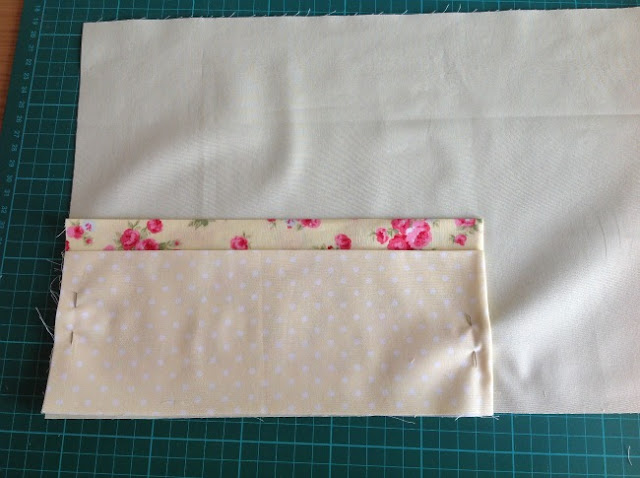 pouches placed onto lining and pinned