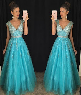 Princess V-neck Tulle Floor-length with Beading Exclusive Prom Dresses