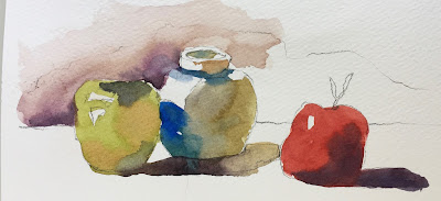 watercolor still life exercise on Strathmore 500 cold press paper with Masters Touch 8 round brush