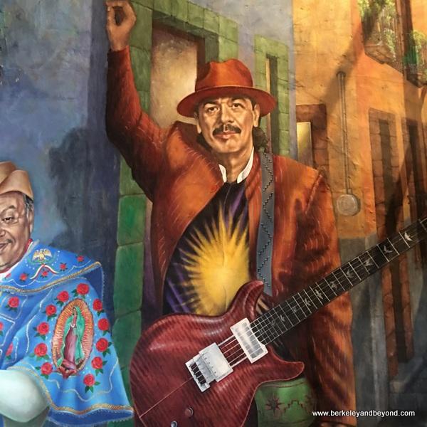 """Cheech Marin and Carlos Santana in """"American Dream"""" mural at Mi Tierra Cafe y Panaderia at Market Square in San Antonio, Texas"""