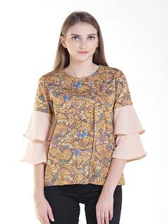 baju batik wanita modern lengan pendek