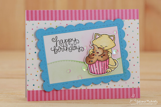 Happy Birthday Card by Juliana Michaels featuring Newton's Nook Designs Newton Eats Cake Stamp and Die Set