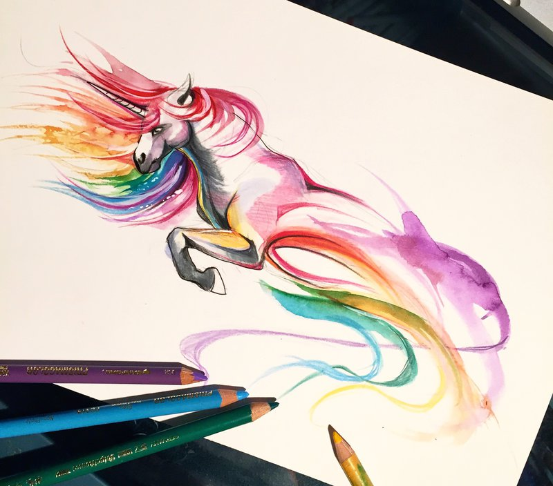 20-Unicorn-Katy-Lipscomb-Lucky978-Fantasy-Watercolor-Paintings-Colored-Pencils-Drawings-www-designstack-co