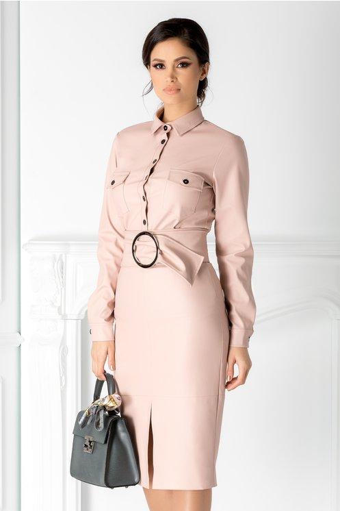 Camasa dama eleganta roz pal din piele ecologica