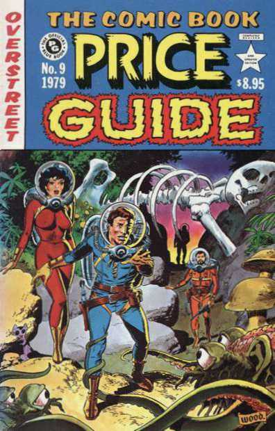 Cover to Overstreet's 'Comic-Book Price Guide' #9 with eerie scene of Earth travelers in spacesuits and helmets on planet with alien creatures