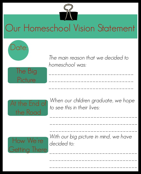 Homeschool vision statement
