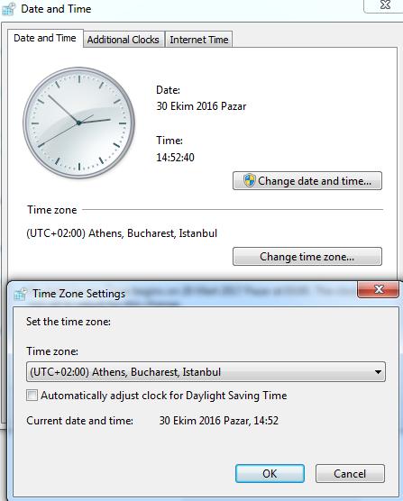 2016 Kış Saati Uygulaması için Windows 7 ve 10'daki Saati Manuel Ayarlamak