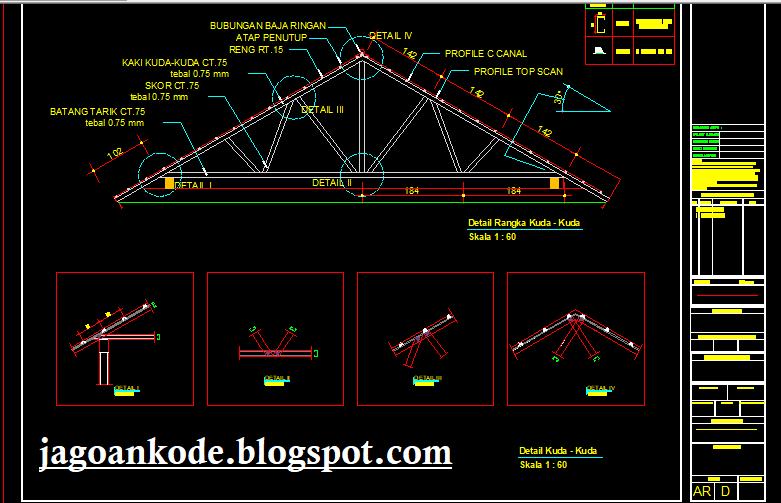 Detail Segitiga Kuda Kuda Baja Ringan Autocad Dwg Jagoan Kode