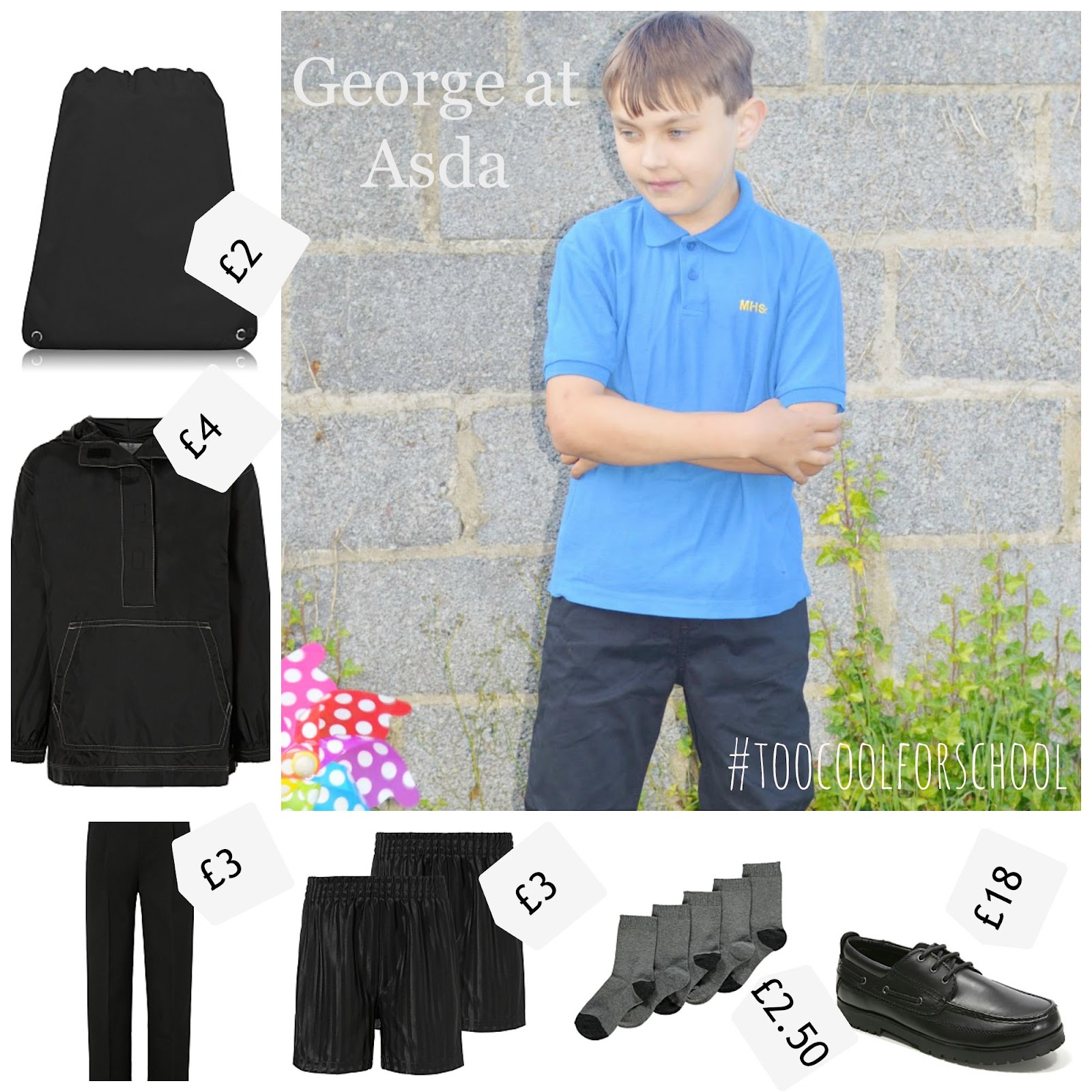 George at Asda School Uniform Boy #toocoolforschool