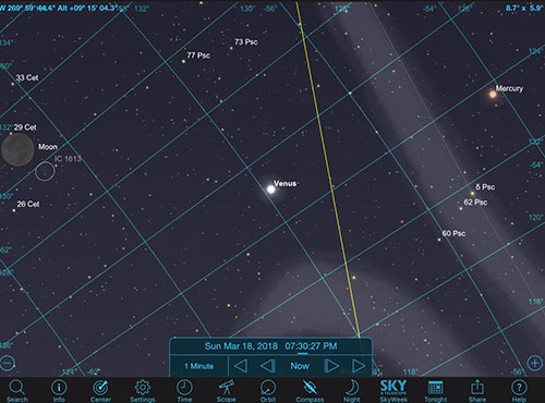 Sky Safari screenshot show relative position of Venus and Mercury, 9 degrees above horizon (Source: Palmia Observatory)