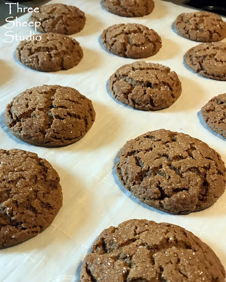 Old Fashioned, soft and chewy, Molasses cookies with sugar tops