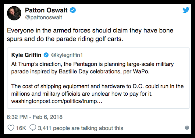 Feb 2 @pattonoswalt responding to Trump's demand for a Parade