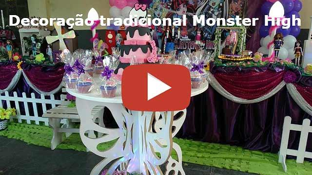 Video decoração de mesa tradicional de toalhas Monster High