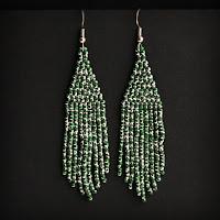 зеленые серебристые серьги купить в интернет магазине изделий из бисера россия ру