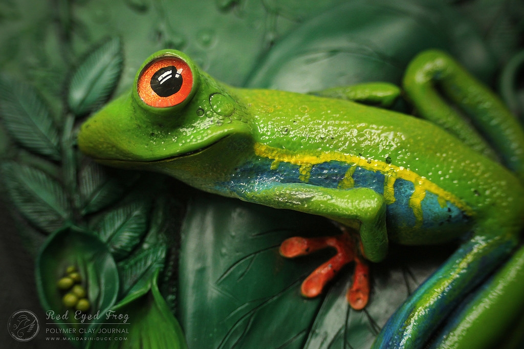 12-Green-Frog-detail-Aniko-Kolesnikova-Polymer-Clay-Book-Diary-and-Electronics-Cover-www-designstack-co