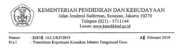 Surat Edaran Nomor : 21518 /A3.3/KP/2019 dari Kementerian Pendidikan