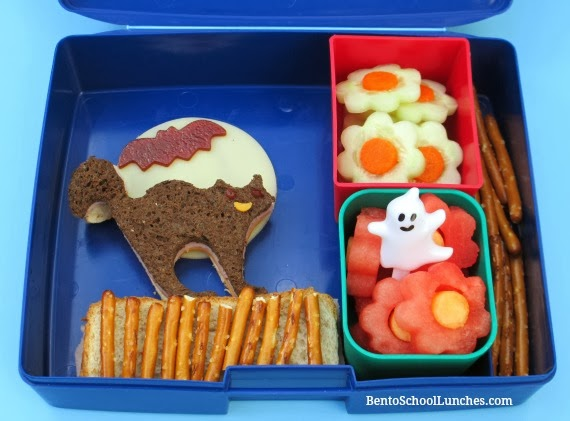 Black Cat, Bat and Ghosts Halloween Bento lunch
