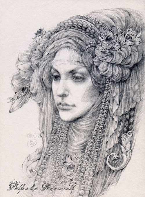 23-Veil-and-Pearls-Olga-Anwaraidd-Drawings-Fantasy-Portraits-Imaginary-Characters-www-designstack-co