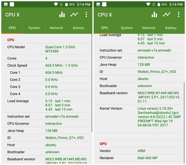 Primo G7+ CPU and GPU Walton Primo G7+ এর হ্যান্ডস-অন রিভিউঃ সাশ্রয়ী বাজেটে দারুণ ফোন