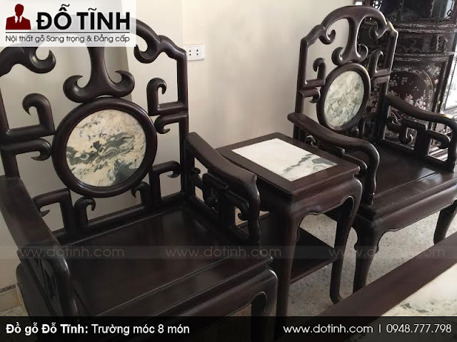 Trường kỷ móc 8 món bằng gỗ gụ mật - Bộ ghế trường kỷ gỗ gụ