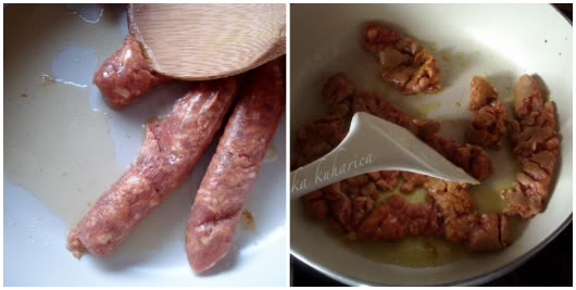 Squeeze sausage out of the casing into the pan