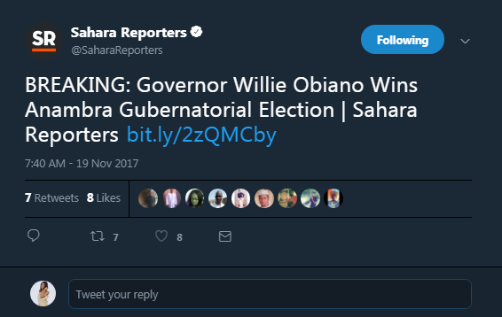 Willie Obiano wins the Anambra 2017 Governorship Election