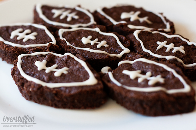 Fudgy football brownies that are gluten and dairy free. So good!