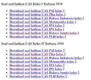 Kumpulan Soal UAS SD Lengkap kelas 1-6 Semua Mata Pelajaran