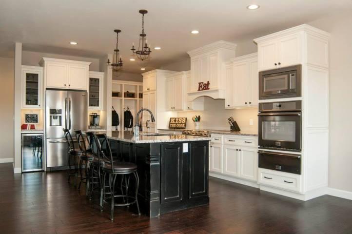 White Kitchen Cabinets With Black Island Home Furniture Design Ideas