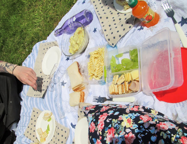 A picnic spread for the family. Free days out this summer. Us Two Plus You