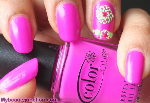 Neon manicure with Color Club Peace Out Purple and nail art stickers