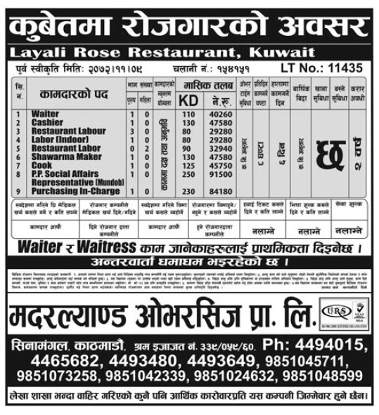 Jobs in Kuwait for Nepali, Salary Rs 91,500