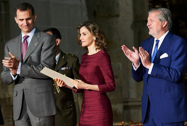 King Felipe and Queen Letizia  attended the delivery ceremony of 'National Culture Awards' 2014 and 2015 at Palencia Cathedral