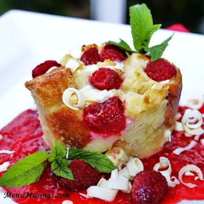 Individual White Chocolate and Raspberry Bread Puddings_menumusings.com