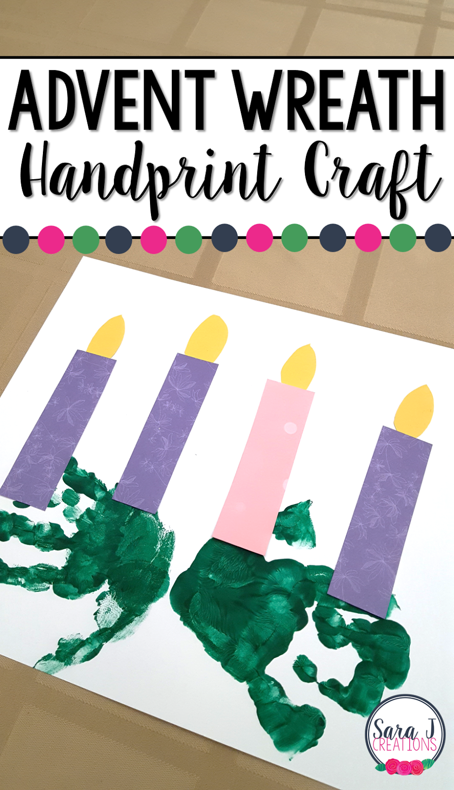 Find out the steps for this adorable Handprint Advent Wreath. #craft #sarajcreations #catholic #advent