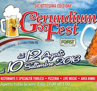 Gerundium Fest dal 12 agosto al 10 Settembre Casirate d'Adda (BG)  2016