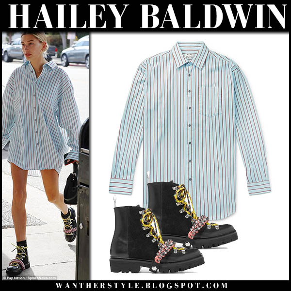 Hailey Baldwin in blue striped shirt and black hiking boots house of holland model street style october 4