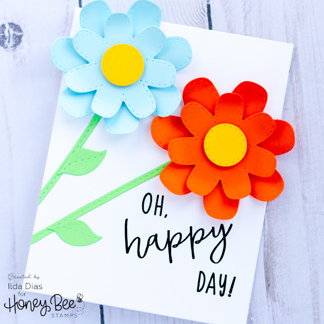 CAS Stitched Flower Card Set for Honey Bee Stamps Happy BEE Day Release Preview by ilovedoingallthingscrafty.com