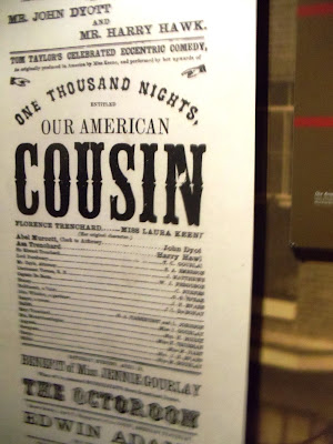 """Our American Cousin"" playbill at Ford's Theatre"