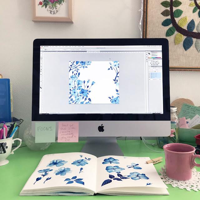 fabric design, surface pattern design, process, painting, Photoshop, Art Studio, Anne Butera, My Giant Strawberry