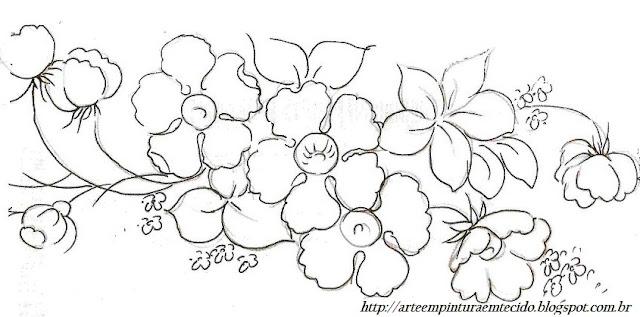 pintura em tecido ramo de flores pano de prato