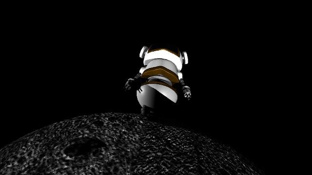 Image description: a 3D model of a robot/astronaut standing on the moon. End description