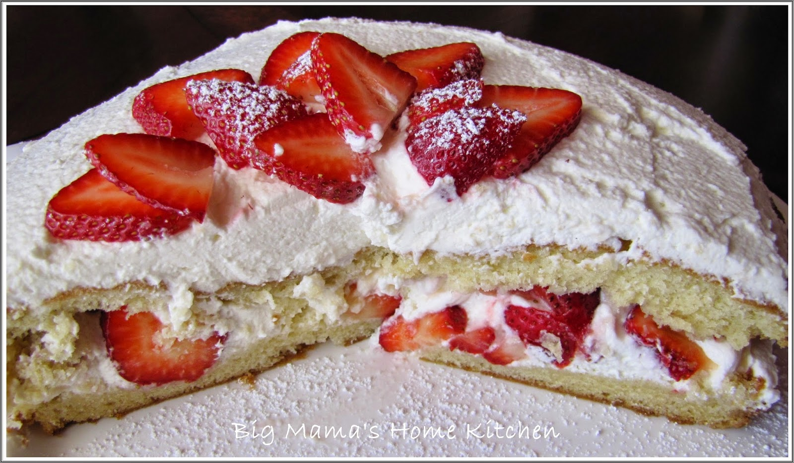 Place The Top Half Of Cake Onto Strawberries Spread With Remaining Whipped Cream And Decorate Dust Powdered Sugar Serve