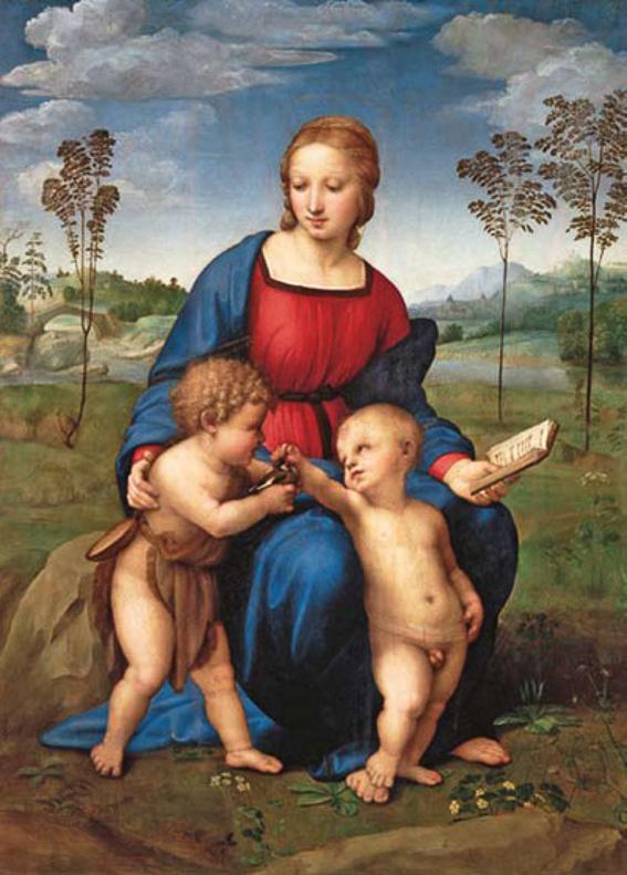 Virgen del Jilgero de Rafael. Galeria Uffizi
