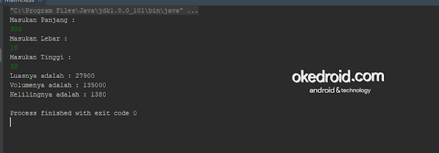 Output Hasil Contoh Code Program Menghitung Luas ,Volume dan Keliling Balok di Java