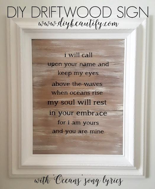 plank wall art driftwood finish with lyrics DIY