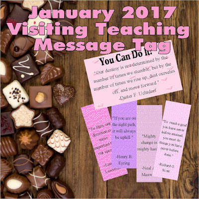 January brings lots of goals and resolutions. Help your Visiting Teaching sisters to reach each and every one of them with these motivational tags and nuggets wrappers featuring the words of the living prophets.
