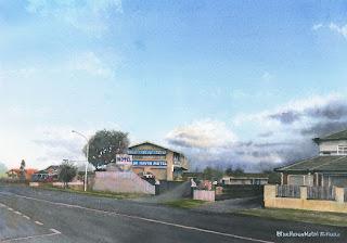 Blue Haven Motel / Watercolor ブルーヘブンモーテル / ニュージーランド 水彩画