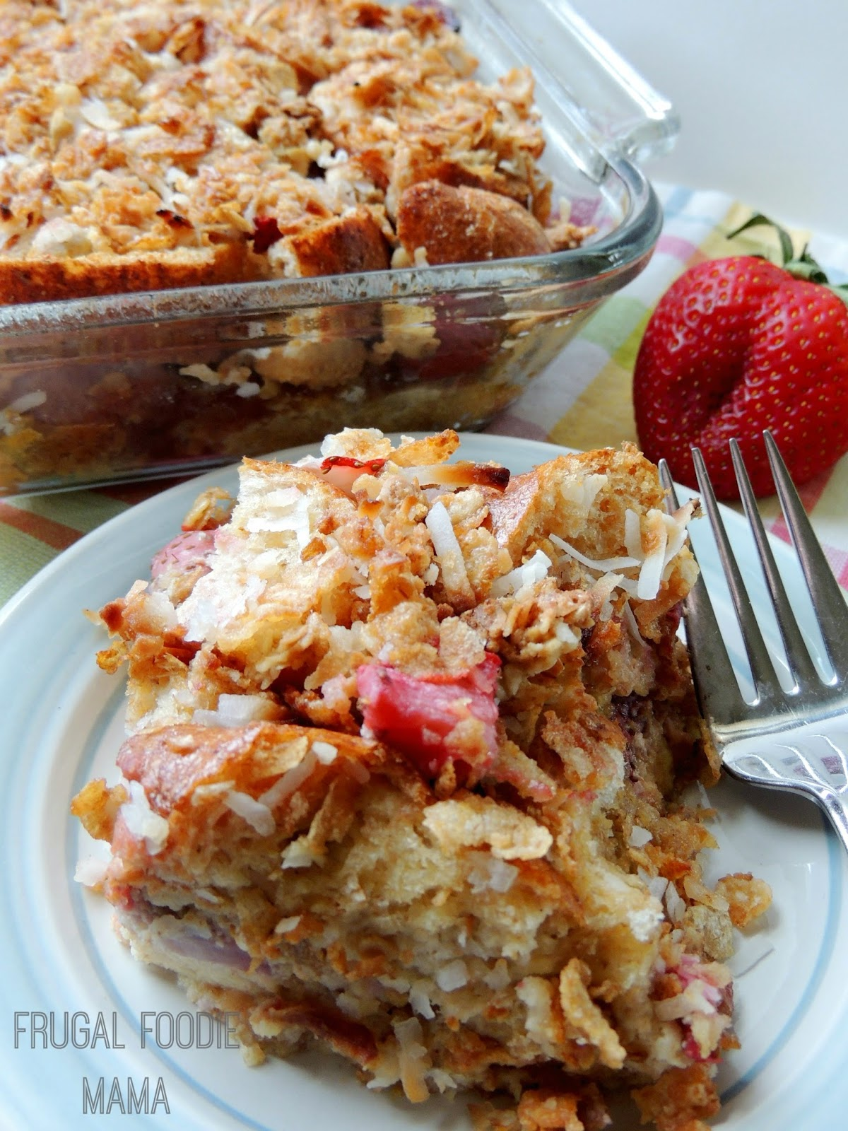 This delicious Strawberry-Coconut Crunch Layered French Toast is virtually guilt free thanks to nonfat Greek yogurt, fresh sliced strawberries, & crunchy Post Honey Bunches of Oats Greek Honey Crunch cereal.